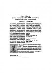 Guest Editorial Special Issue on the 2012 IEEE ... - IEEE Xplore