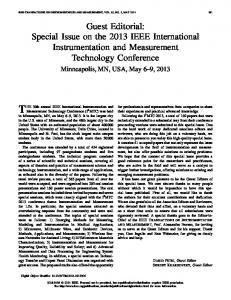 Guest Editorial: Special Issue on the 2013 IEEE ... - IEEE Xplore