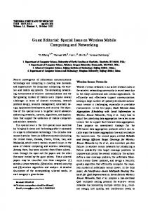Guest Editorial: Special Issue on Wireless Mobile ... - IEEE Xplore