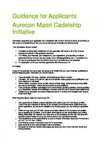 Guidance for Applicants Aurecon Maori Cadetship Initiative