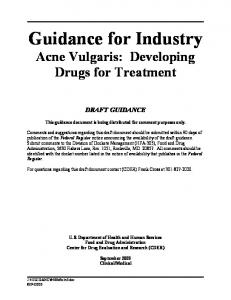 Guidance for Industry - Acne Vulgaris: Developing Drugs for Treatment