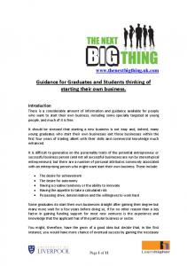 Guidance for those thinking of starting their own business