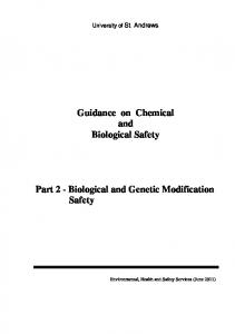 Guidance on Chemical and Biological Safety Part 2 - Biological and ...