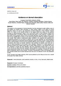 Guidance on dermal absorption - Wiley Online Library