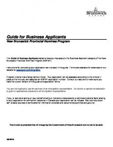 Guide for Business Applicants New Brunswick Provincial Nominee ...