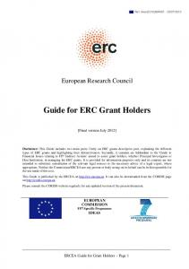 Guide for ERC Grant Holders - ERC - Europa