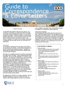 Guide to Correspondence & Cover Letters
