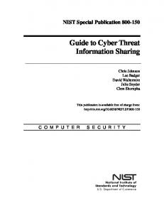 Guide to Cyber Threat Information Sharing - NIST Page