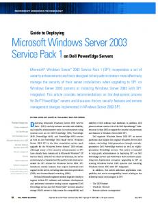 Guide To Deploying Microsoft Windows Server 2003 Service Pack 1