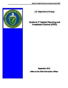Guide to IT Capital Planning and Investment Control (CPIC)