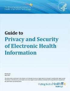 Guide to Privacy and Security of Health Information