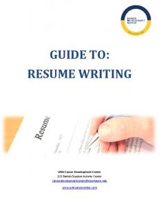 GUIDE TO: RESUME WRITING