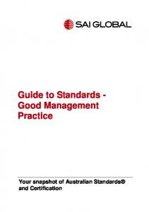 Guide to Standards - Good Management Practice - Significance ...