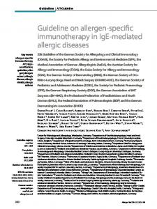 Guideline on allergen-specific immunotherapy in IgE ... - AWMF