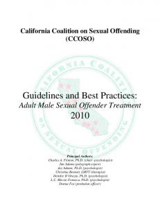 Guidelines and Best Practices: Adult Male Sexual Offender ... - CCOSO