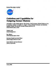 Guidelines and Capabilities for Designing Human Missions
