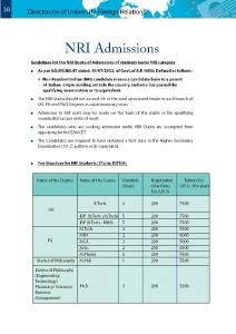 Guidelines and fee structure for NRI Admissions - 2013-14
