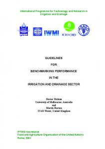 Guidelines for benchmarking performance in the irrigation