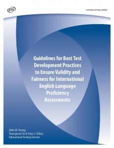 Guidelines for Best Test Development Practices to Ensure ... - ETS
