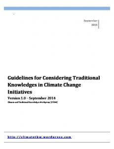 Guidelines for Considering Traditional Knowledges in ...