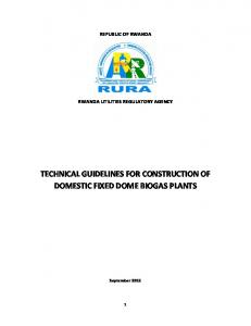 Guidelines for construction of domestic fixed dome biogas plants