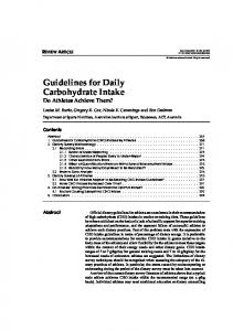 Guidelines For Daily Carbohydrate Intake