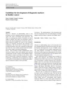 Guidelines for development of diagnostic markers in