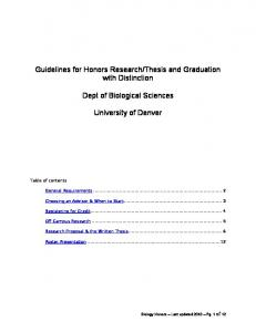 Guidelines for Honors Research/Thesis and Graduation with ...