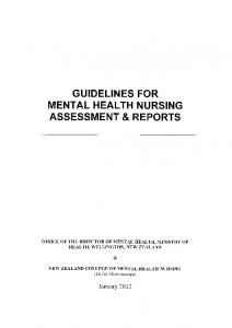 guidelines for mental health nursing assessment & reports