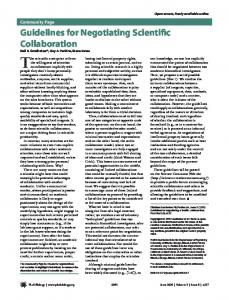 Guidelines for Negotiating Scientific Collaboration