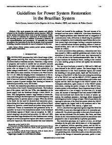 Guidelines for Power System Restoration in the ... - IEEE Xplore
