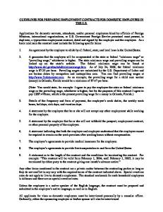 guidelines for preparing employment contracts for domestic