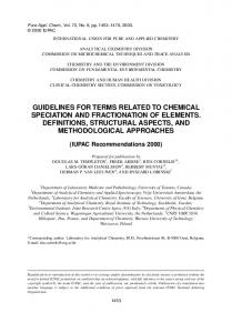 guidelines for terms related to chemical speciation and ... - iupac