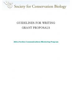 GUIDELINES FOR WRITING GRANT PROPOSALS
