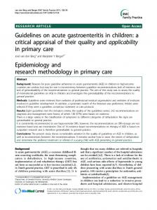 Guidelines on acute gastroenteritis in children: a ... - BioMedSearch