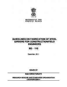 guidelines on fabrication of steel girders for construction/field ... - rdso