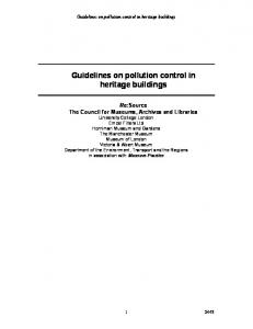 Guidelines on pollution control in heritage buildings - UCL Discovery