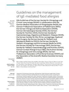 Guidelines on the management of IgE-mediated food allergies - AWMF