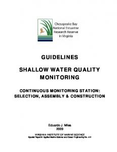 GUIDELINES SHALLOW WATER QUALITY MONITORING