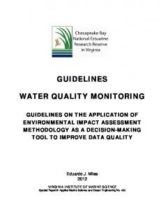 guidelines water quality monitoring