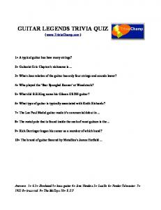 GUITAR LEGENDS TRIVIA QUIZ - Trivia Champ