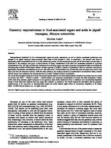 Gustatory responsiveness to food-associated sugars and ... - CiteSeerX