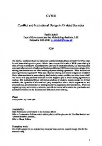 GV4E8 Conflict and Institutional Design in Divided Societies - LSE