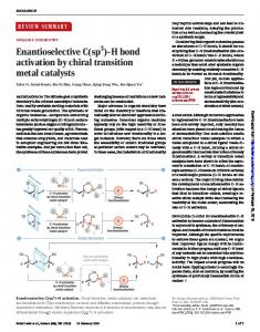 H bond activation by chiral transition metal catalysts