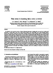 H eat stress in lactating dairy cows: a review