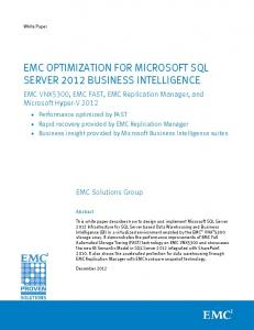 H11257: EMC Optimization for Microsoft SQL Server 2012 Business ...