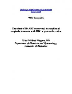 (HAART) on cervical intraepithelial neoplasia in women with HIV