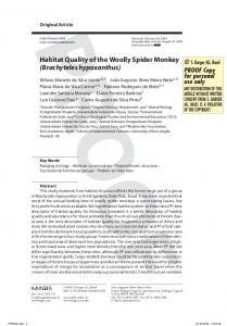 Habitat Quality of the Woolly Spider Monkey (Brachyteles ... - Locus UFV