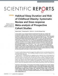 Habitual Sleep Duration and Risk of Childhood Obesity: Systematic ...