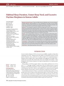 Habitual Sleep Duration, Unmet Sleep Need, and